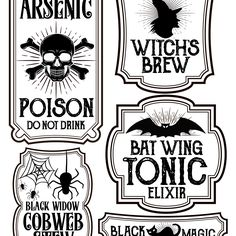 Free printables for Halloween bottle labels and potion labels. Easy and cheap Halloween craft and DIY project. Halloween party printable labels.