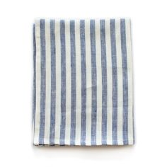 Dish Towel in blue and white stripes. Towel measures X Cotton twill hanging loop and rennes tag. Dish Towels, Tea Towels, Striped Linen, Navy Stripes, Spring Cleaning, Home Goods, Blue And White, Design Products, Quilt