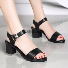Sandals Women's New Summer Word Buckle Thick and Waterproof Platform Chunky Heeled Shoes - Chunky Heels Platform High Heels, High Heels Stilettos, High Heel Boots, Strappy Heels, Shoes Heels, Flats, Thick Heels, Chunky Heels, Comfortable High Heels