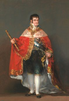Francisco Goya King Ferdinand VII with Royal Mantle, , Museo del Prado, Madrid. Read more about the symbolism and interpretation of King Ferdinand VII with Royal Mantle by Francisco Goya. Spanish Painters, Spanish Artists, Art Espagnole, Fernando Vii, Web Gallery, European Paintings, Chef D Oeuvre, Kaiser, Ferdinand