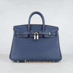 Sacs Hermès Pas Cher Birkin 25cm Tote Sac Foncé Bleu Cuir Silver 6068 €191.00