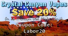 Have a great Labor Day! Save 20% off all premium USA made eliquid using coupon code: labor20  http://www.ccvapes.com