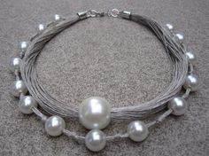 Natural Linen Necklace fantasy pearls knots eco metal by espurna88, €24.60