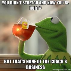 YOU DIDN'T STRETCH AND NOW YOU'RE HURT? but that's none of the coach's business - Kermit The Frog Drinking Tea