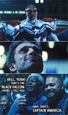 Quote from The Falcon and The Winter Soldier 1x06   Bystander: Hell, yeah! That's the Black Falcon there. I tell you. Another bystander: Nah, that's Captain America.   Iconic scene from The Falcon and The Winter Soldier with Bucky Barnes and Sam Wilson   TFATWS Quotes Marvel Television, Soldier Quotes, Best Quotes, Funny Quotes, Marvel Quotes, Fandoms, Tv Show Quotes, One Liner, Cool Lego