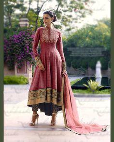 Pink Khadi Designer Anarkali Suit 67965