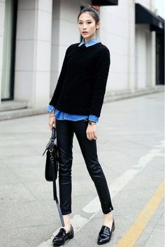 Sweater + Shirt with ankle pants with loafers