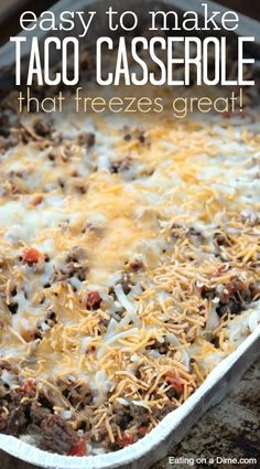Taco Rice Casserole Delicious and Easy Taco Casserole recipe. This easy taco casserole recipe was a huge hit. My husband practically licks the pan clean when I make it. The post Taco Rice Casserole & 30 Minute Meals * appeared first on Free . Make Ahead Freezer Meals, Freezer Cooking, Meals That Freeze Well, Freeze Ahead Meals, Beef Recipes, Mexican Food Recipes, Cooking Recipes, Beef Freezer Meals, Freezer Meal Recipes