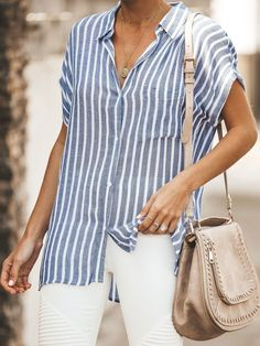 Laheroina Striped 1 Blue White Yellow Green Pink Gray Army Green Orange Yellow-White Women Blouses & T-Shirts V Neck Linen Casual Short Sleeve Blouses & T-Shirts – LA HEROINA