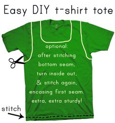 I've made dozens of these, and we use them for picnics, hikes, day trips, shopping... love them! Easy DIY t-shirt tote tutorial @ hello-refabulous.blogspot.com