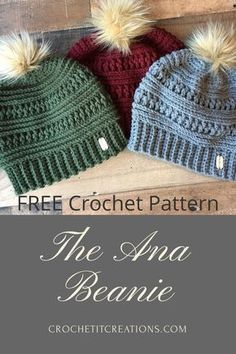 The Ana Beanie's trendy style will be your favorite accessory this winter. FRE… The Ana Beanie's trendy style will be your favorite accessory this winter. FREE crochet pattern by Crochet It Creations Pin: 290 x 435 Crochet Adult Hat, Bonnet Crochet, Crochet Beanie Pattern, Knit Or Crochet, Crochet Gifts, Crochet Scarves, Crochet Clothes, Crochet Stitches, Crochet Hooks