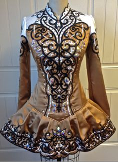 Irish Dance Solo Dress in Caramel Coffee Color with Black and White Embroidery and Claddagh-Inspired Skirt