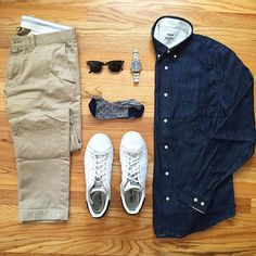 WEBSTA @ krazscloset - Simple ThursdaysDenim shirt: @acnestudiosChinos: @jcrewSneakers: @adidasoriginals Stan SmithNo-show socks: @thetiebarSunglasses: @raybanWatch: @victorinoxswissarmyIf you like this outfit, you can shop it by clicking on the link in my bio!