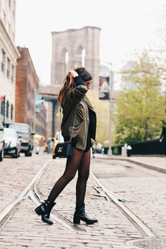Tights Galore aims to be the number one place for tights and pantyhose fashion inspiration. Pantyhose Fashion, Boho, Tights, Bomber Jacket, Hipster, Nyc, Punk, Photoshoot, Street Style