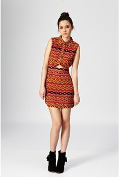 Aztec Print Cut Out Shirt Dress - All Dresses - Clothing
