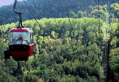 Moose Mountain, Lutsen, MN --- off the beautiful North Shore of MN.   This is a gondola to take you to the top.  Great place to ski and fun to visit in the summer.