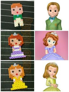 Princess Sophia, Princess Amber and Prince James - Sofia the First hama perler beads by Love Cupcoonka - www.facebook.com/hamabeadshobby