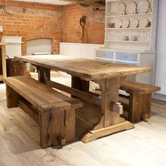 Reclaimed oak dining table with benches Dinning Room Tables, Wooden Dining Tables, Oak Table, Dining Room Sets, Dining Bench, Kitchen Table Bench, Reclaimed Dining Table, Rustic Table, Farmhouse Table