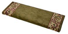 "Dean Non-Slip Tape Free Pet Friendly Stair Gripper Bullnose Carpet Stair Treads - Talas Floral Green 31""W (3)"