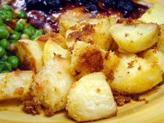 Garlic parmesan potatoes.  These were SUPER yummy and easy too!  Boiled medium sized reds (unpeeled) for about 15 min to reduce oven cooking time.  Cut up into chunks, mix, dump, bake, enjoy! sl