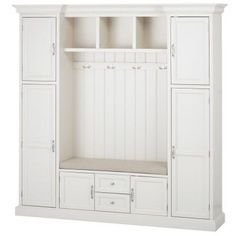 Home Decorators Collection Royce 4-Hook Contemporary Wood All-in-One Mudroom/Hall Tree in Polar White-7474200410 - The Home Depot