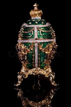 Editorial image of 'Faberge egg. Isolated on black.'