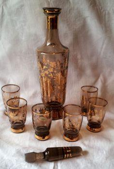 VINTAGE BOHEMIA SMOKE GLASS DECANTER AND GLASSES