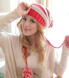 Chunky Contrast Stripe Pattern Pompom Beanie - Hats - Accessories Free shipping