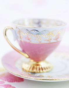 pink gold and white tea cup