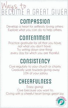 Great ideas for giving! Generosity is based on what YOU have, not what others give.