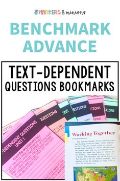 These are bookmarks to use with the Benchmark Advance Texts for Close Reading texts. Each unit has a bookmark with text-dependent questions that pertain to every story (short AND extended reads!). Great for small groups!