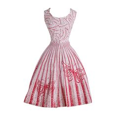 Vintage 1950s Red Butterfly Cotton Dress | See more vintage Cocktail Dresses at https://www.1stdibs.com/fashion/clothing/day-dresses/cocktail-dresses in 1stdibs