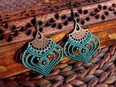 Macrame earrings tribal earrings boho bohemian hippie by QuetzArt                                                                                                                                                                                 More