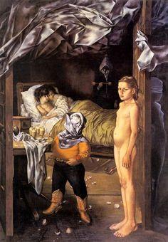 Pintura de Dorotea Tanning titulada La habitación de huéspedes