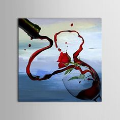 Hand Painted Oil Painting Still Life Flow Out with Stretched Frame – USD $ 69.99