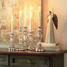 Antiqued Mercury Glass Candlesticks, available at ballarddesigns.com