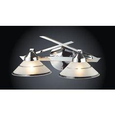 Westmore Lighting 2-Light Beryl Polished Chrome Bathroom Vanity Light