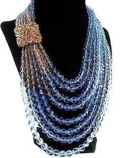 Vtg COPPOLA E TOPPO Champagne & Periwinkle Blue Crystal Bead NECKLACE Snap Clasp