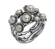 Or Paz Sterling Cultured Freshwater Pearl Flower Ring — QVC.com