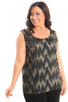 Vikki Vi Jersey Glitz Tank A great plus size piece for your holiday party.