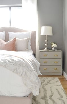 Guest bedroom makeover with Benjamin Moore 'Chelsea Gray' paint. Maybe this is my darker gray paint for the master bedroom. Home Living, Apartment Living, Living Room, Home Bedroom, Bedroom Decor, Bedroom Ideas, Master Bedroom, Blush Bedroom, Bedroom Colors