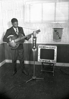 Blues musician B.B. King performs on the radio station WDIA in 1948 in Memphis, Tennessee.