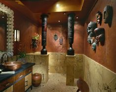 Bathroom Design with African Mask Wall Decor