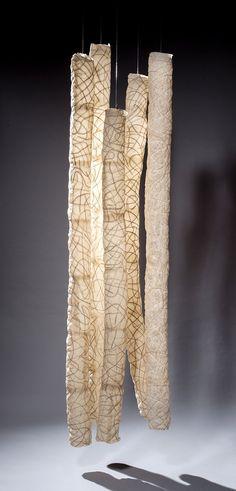Lumen V 2014, Abaca paper, 100 x 26 x 26 inches, Fritz Dietel Sculpture