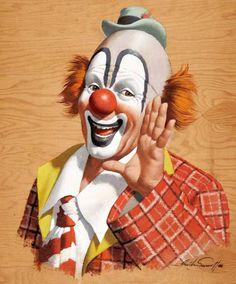 Clown by Arthur Sarnoff Circus Art, Circus Clown, Circus Theme, Clown Pics, Clown Images, Clown Face Paint, Clown Paintings, Clown Horror, Es Der Clown