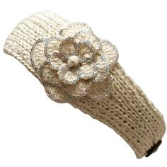 Ivory Crocheted Headband With Sequin Flower Detail