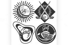 Set of vintage golf labels by Netkoff on @creativemarket