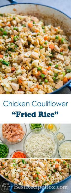 Healthy fried rice recipe with chicken and cauliflower. This chicken cauliflower fried rice recipe has no rice, only healthy cauliflower and chicken breast Chicken Cauliflower, Cauliflower Recipes, Cauliflower Stir Fry, Roasted Cauliflower, Cauliflower Risotto, Cauliflower Casserole, Beef Casserole, Low Carb Recipes, Cooking Recipes