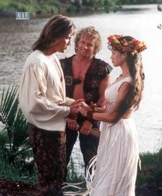 Hercules (Kevin Sorbo), Iolaus (Michael Hurst), and Serena (Sam Sorbo).
