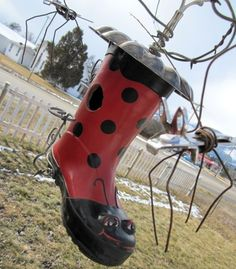 Crazy Bug Eyed Polka Dotted Rubber Boot Birdhouse by thedustyraven